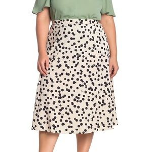 T Tahari Cream Black Polka Dot Midi Skirt Plus